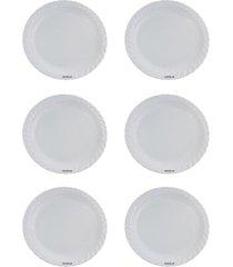 kit 6 saladeiras redonda rasa grande - melamina - branco - dafiti