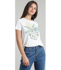 blusa feminina folhagem canelada manga curta decote redondo off white