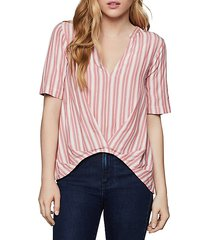 striped pleated-front top