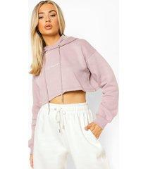 woman korte geborduurde hoodie, dusty rose