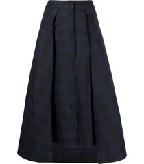 henrik vibskov plaid midi skirt - blue