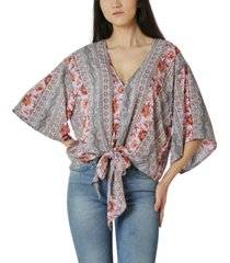 polly & esther juniors' oversized tie-front blouse
