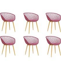 conjunto 06 cadeiras clarice cereja rosa - rosa - dafiti