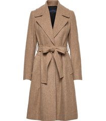 balia tweed belted coat yllerock rock beige french connection