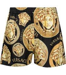 versace medusa head pajama shorts - black