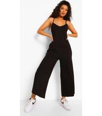 oversized jumpsuit met v-hals en bandjes, black