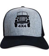 boné trucker cheiro de gasolina jeep cinza - kanui