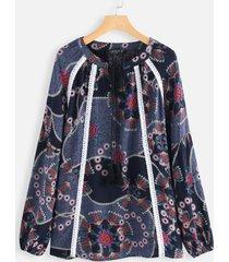 camicetta da donna vintage a manica lunga con stampa etnica a fascia