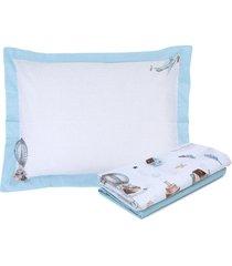 jogo de cama 3pçs solteiro kacyumara vida bela léo azul