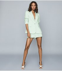 reiss lana - textured tailored blazer in green, womens, size 14