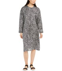 eileen fisher button-front shift dress