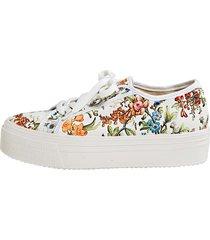 blommiga sneakers klingel vit