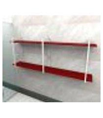 prateleira industrial banheiro aço cor branco 180x30x68cm cxlxa cor mdf vermelho modelo ind37vrb
