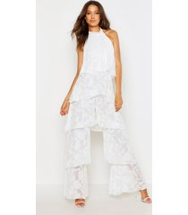 tall floral frill layered jumpsuit, white