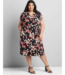 lane bryant women's cap-sleeve cross-over fit & flare dress 34/36 buttercup floral