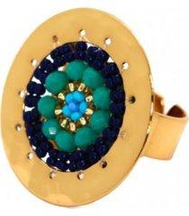 anillo imperial baño oro tejido turquesa bijulovers
