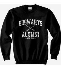 ha1 hogwarts alumni white ink unisex crewneck sweatshirt black