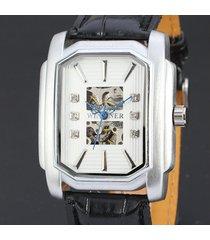033 reloj hueco cuadrado reloj mecánico automático reloj de cuero de