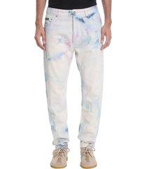 palm angels tie dye jeans in white denim