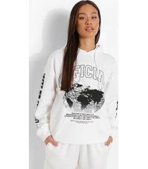 oversized official worldwide hoodie, ecru