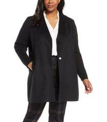 plus size women's kenneth cole new york knit sleeve wool blend coat