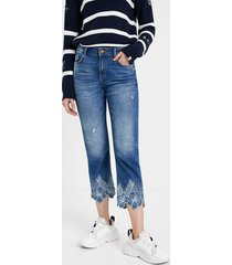 straight cropped jeans - blue - 34