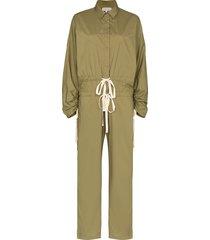 lee mathews drawstring cargo jumpsuit - green