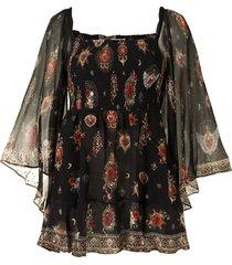 camilla shirred bodice mini dress - black