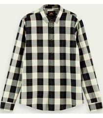 scotch & soda klassiek geruit regular fit overhemd van 100% katoen