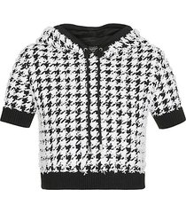 houndstooth crop top hoodie