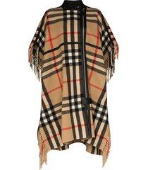 burberry leather piped checked cape - multicolour