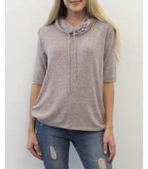 coin 1804 women's 3/4 sleeve cowl neck drawstring top