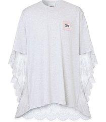 burberry chantilly lace cape detail t-shirt - white