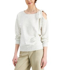 charter club french terry cold-shoulder bow top, created for macy's