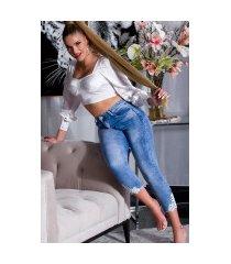 sexy skinny 7/8 jeans met kant blauw