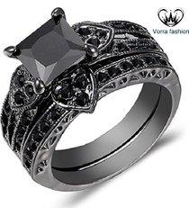 princess cut diamond 14k black gold finish 925 sterling silver bridal ring set