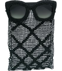 kuboraum square sunglasses with mesh drape detail - black