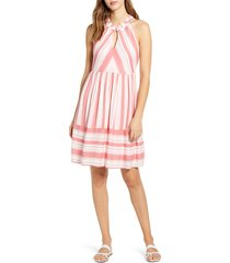 women's gibson x the motherchic newport stripe dress, size medium - coral