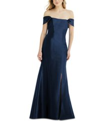 alfred sung bow-back off-the-shoulder gown