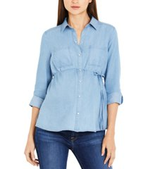 a pea in the pod cotton roll-tab maternity shirt