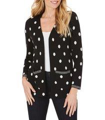 women's foxcroft brighton jacquard dot cotton blend cardigan sweater, size medium - black