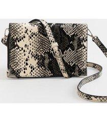 abigail textured zip around string wallet - black/white