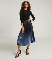 reiss marlene - ombre pleated midi skirt in blue, womens, size 14