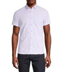 ted baker london men's regular-fit micro dot button-down shirt - purple - size 2 (s)