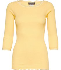organic t-shirt boat neck w/lace t-shirts & tops long-sleeved geel rosemunde