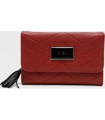 billetera mediana con cierre exterior nau rojo ziol