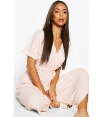 rib oversized wrap culotte jumpsuit, dusky pink