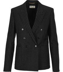 saint laurent double-breasted blazer wiht lamé stripes