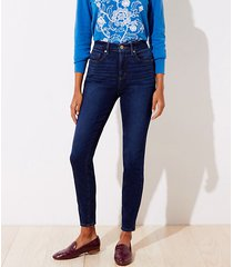 loft curvy high waist slim pocket skinny jeans in vintage dark indigo wash