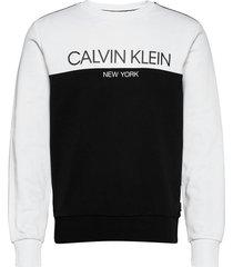 color block logo sweatshirt sweat-shirt tröja svart calvin klein